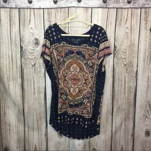 NWOT Lucky Brand Blue Beige Paisley Graphic Tee XL